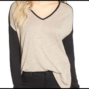 Madewell Black and Tan Colorblock Top